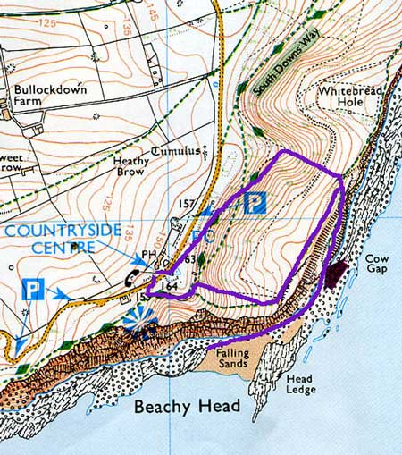 Beachy Head walk map